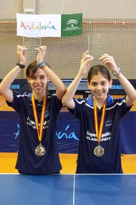 Anna Ibañez i Mireia Badosa Campiones d'Espanya de Tennis Taula.