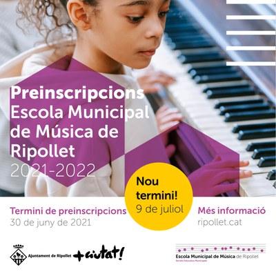 9 de juliol, darrer dia de la preinscripció de l'Escola Municipal de Música.