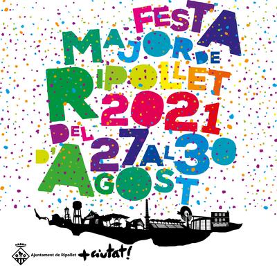 Cartell de la Festa Major 2021, amb el confeti i la silueta urbana de Ripollet.