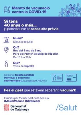 Punt mòbil de vacunació sense cita prèvia a Ripollet el dijous 8 de juliol.