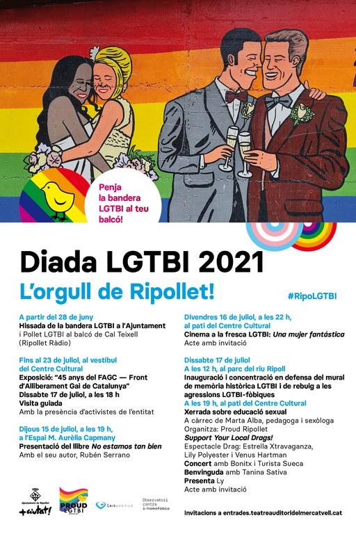 Cartell de la Diada LGTBI de Ripollet, amb el calendari d'actes.