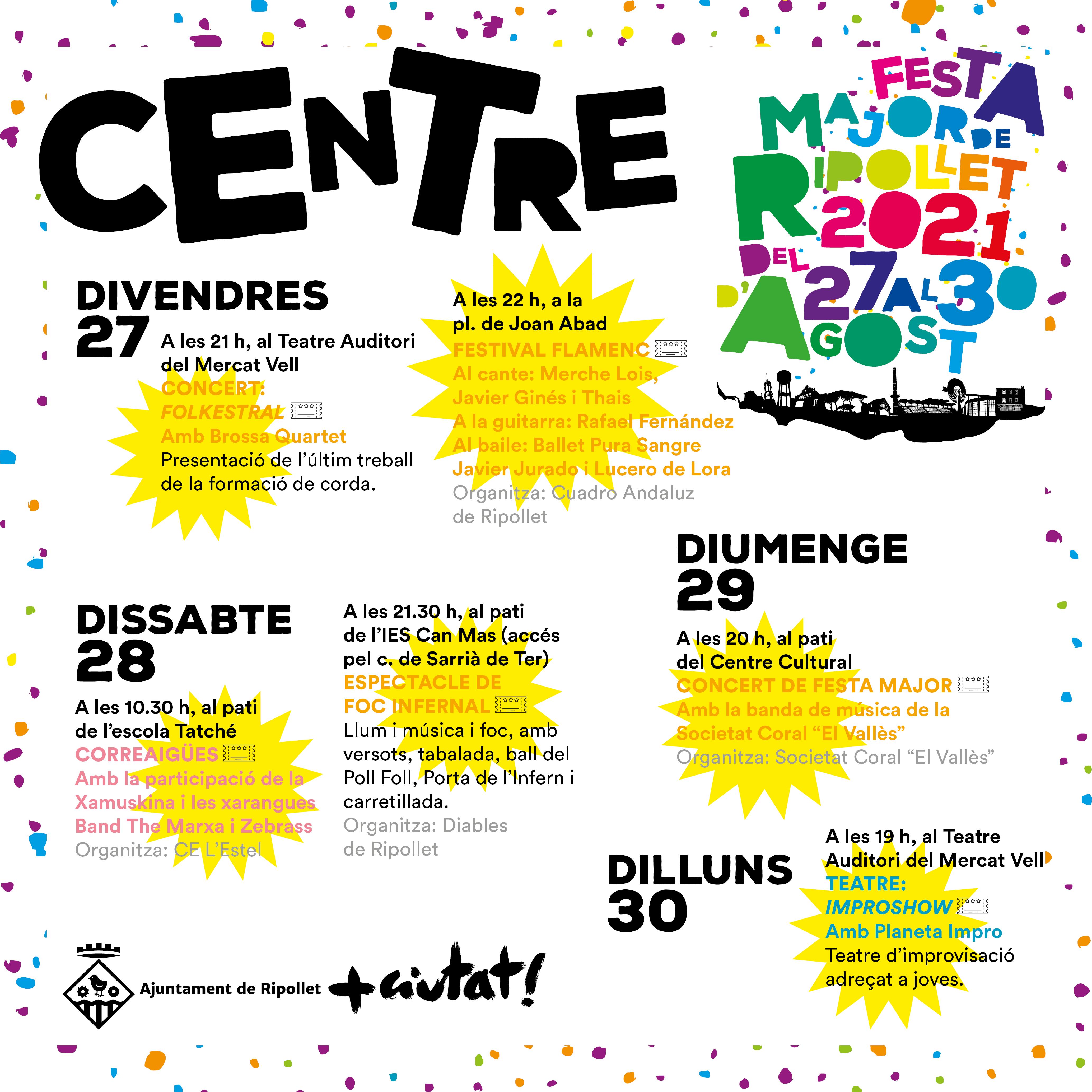 Actes destacats de la Festa Major 2021 a la zona centre