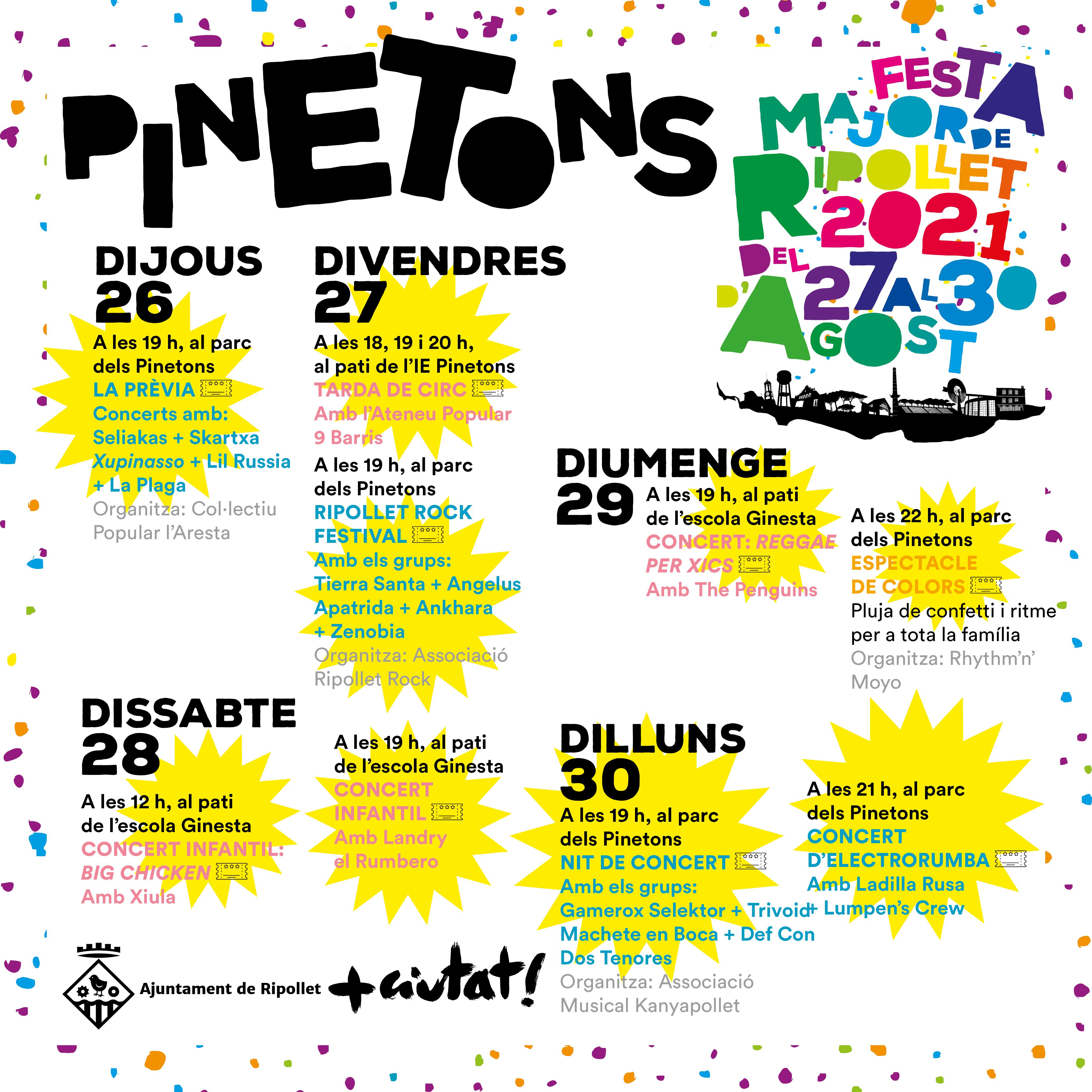 Actes destacats de la Festa Major 2021 a Pinetons