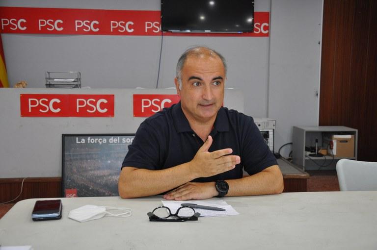 Luis Tirado en roda de premsa a la seu del PSC