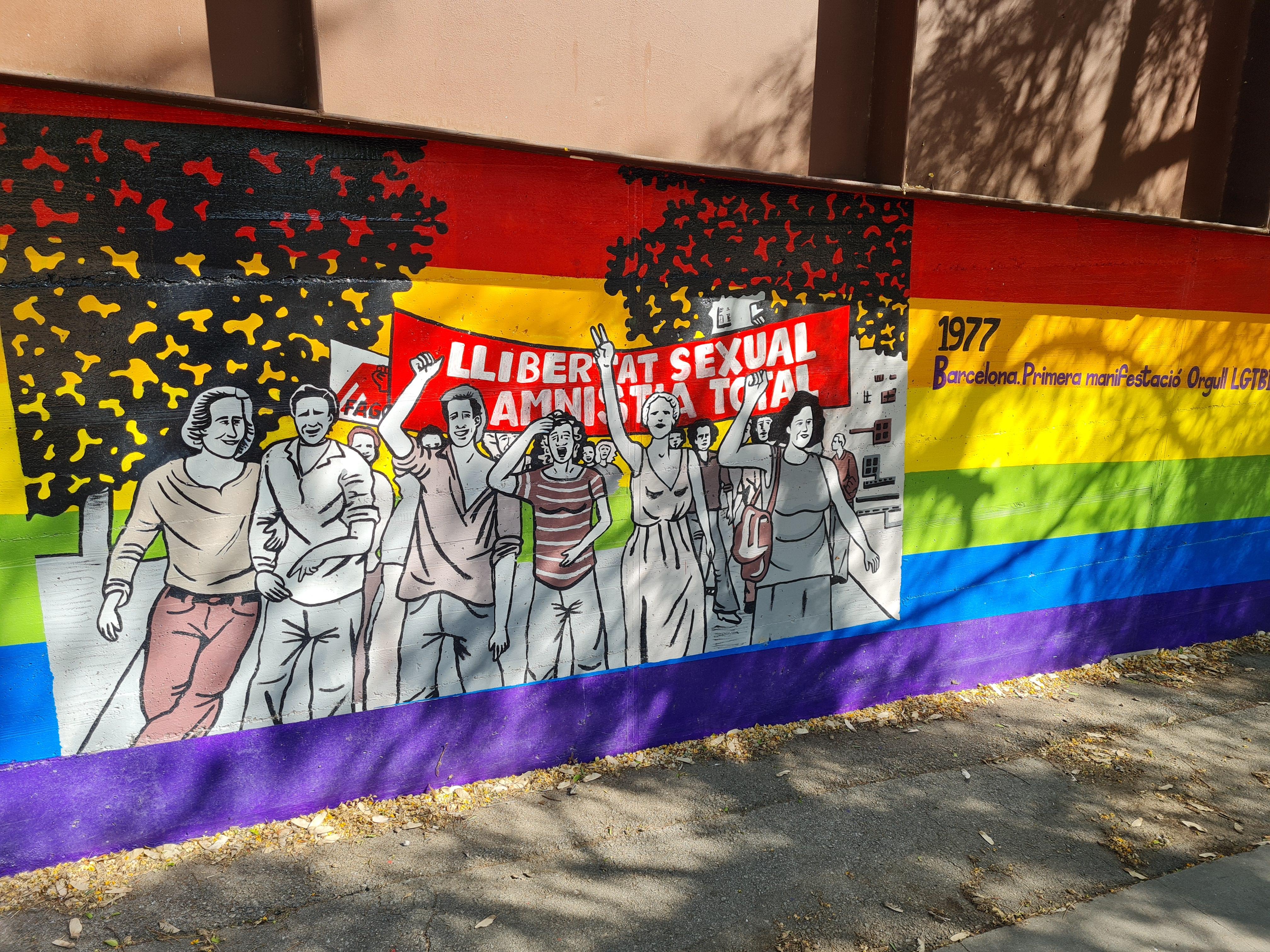Imatge del mural de la manifestació del 1977 a Barcelona