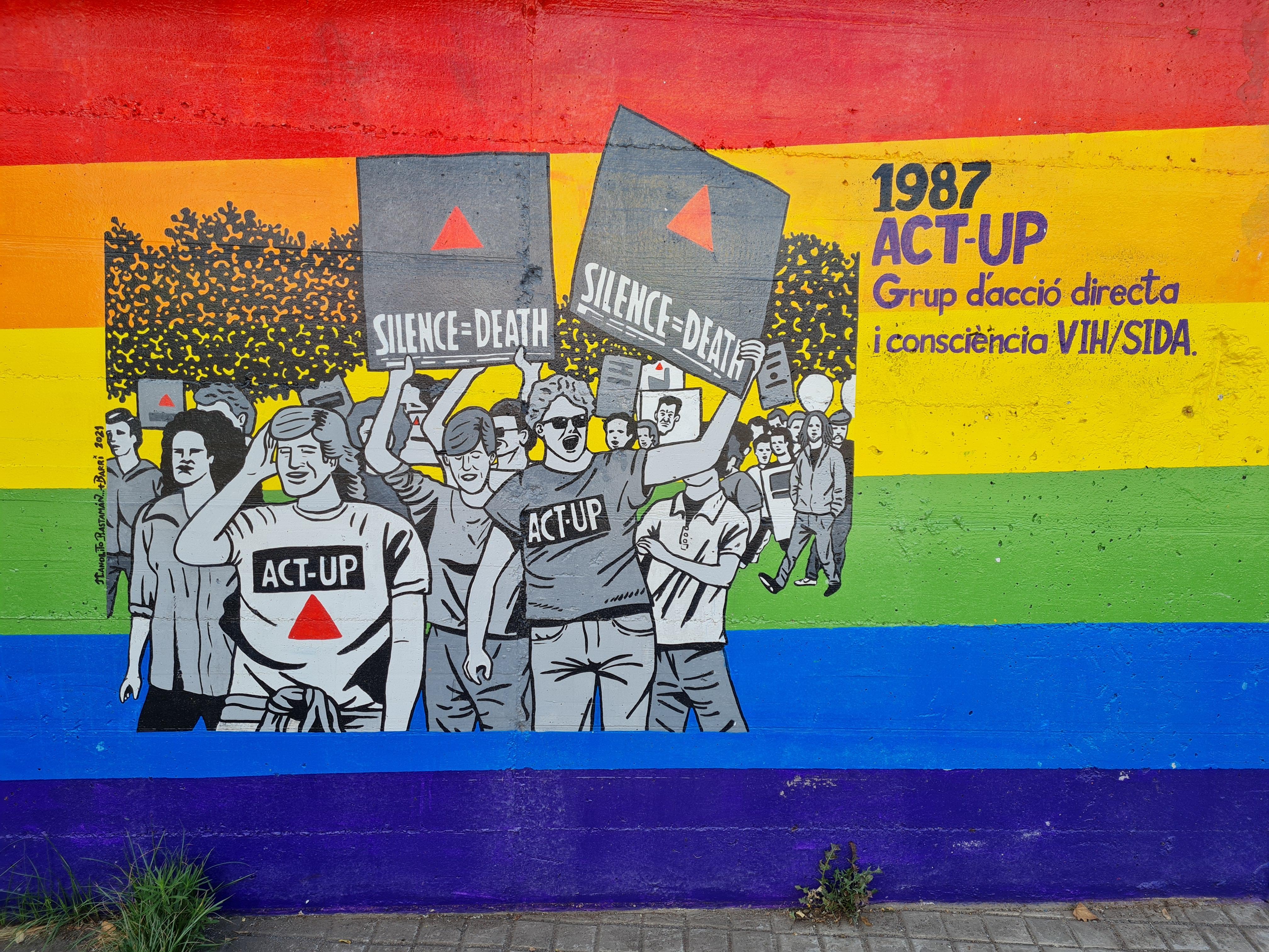 ACT-UP lluitant en solidaritat amb les persones malaltes de la sida
